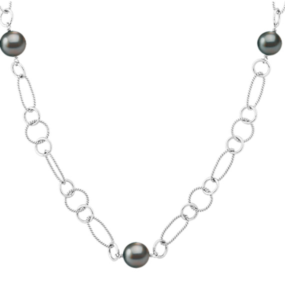 "9mm Cultured Tahitian Pearl and Sterling Silver Necklace (25"")"