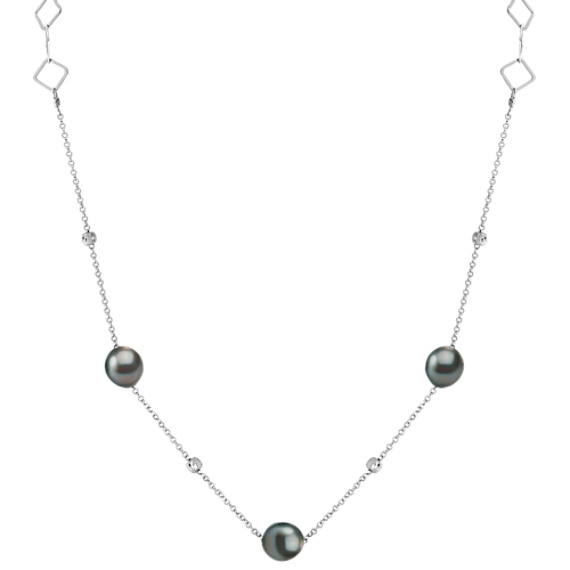 "9mm Cultured Tahitian Pearl and Sterling Silver Necklace (36"")"