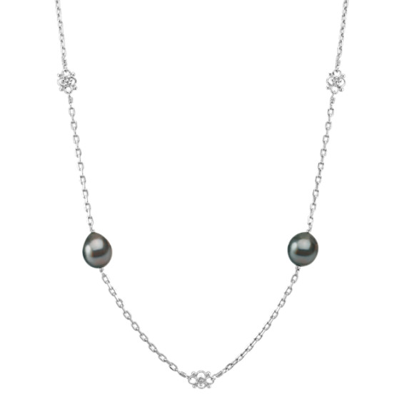 9mm Cultured Tahitian Pearl and Sterling Silver Necklace (30)
