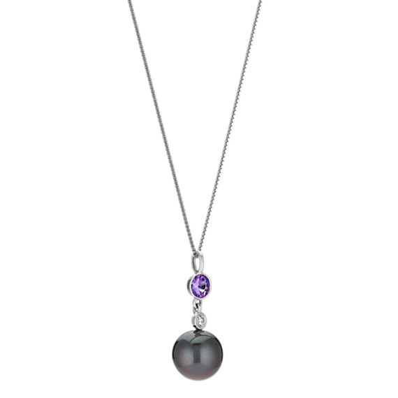 "9mm Cultured Tahitian Pearl, Lavender Sapphire, and Diamond Pendant (18"")"
