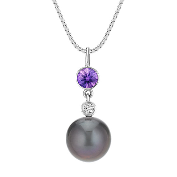 9mm Cultured Tahitian Pearl, Lavender Sapphire, and Diamond Pendant (18)