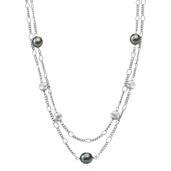 "9mm Cultured Tahitian Pearl Necklace and Sterling Silver (25"")"