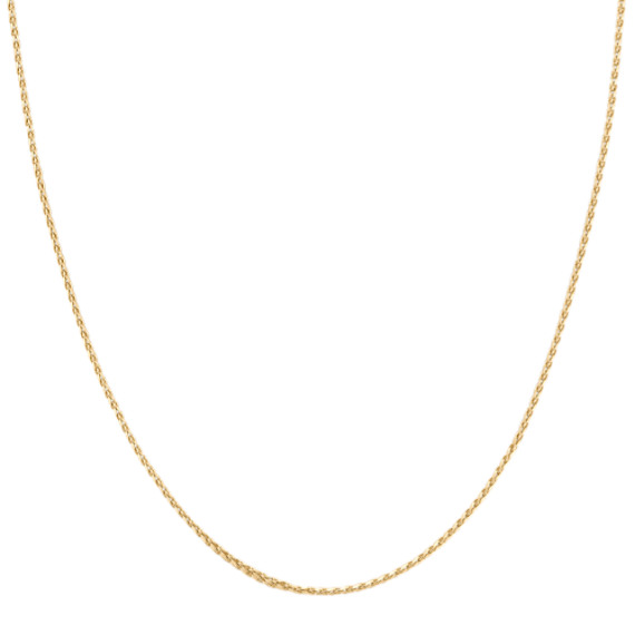 Adjustable14k Yellow Gold Diamond Cut Wheat Chain (22)