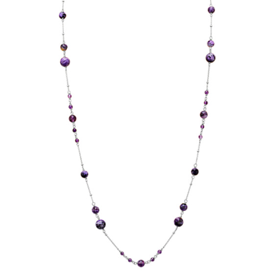 """Amethyst and Charoite Necklace in Sterling Silver (30"""")"""