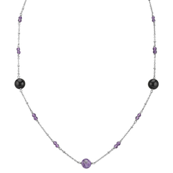 "Amethyst, Charoite, Black Agate and Sterling Silver Necklace (30"")"