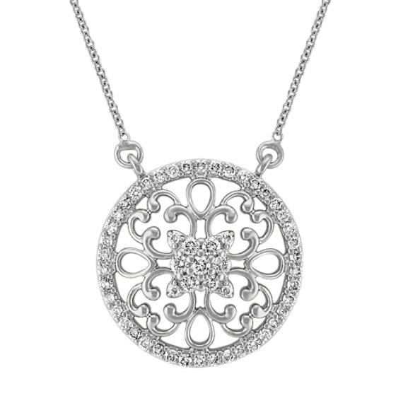 "Arabesque Circle Diamond Pendant in 14k White Gold (18"")"