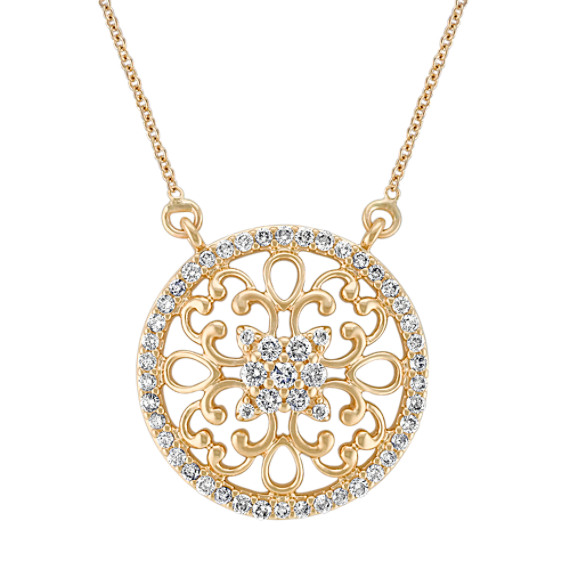 Arabesque Circle Diamond Pendant in 14k Yellow Gold (18)