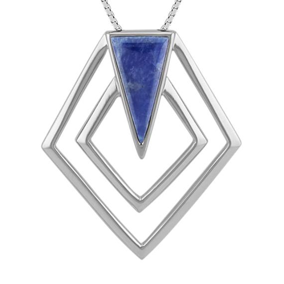 "Asymmetrical Octagon Sodalite Pendant in Sterling Silver (18"")"