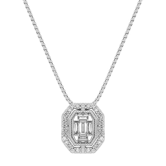 "Baguette and Round Diamond Pendant (18"")"