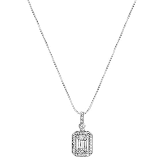 "Baguette and Round Diamond Pendant (18"")"