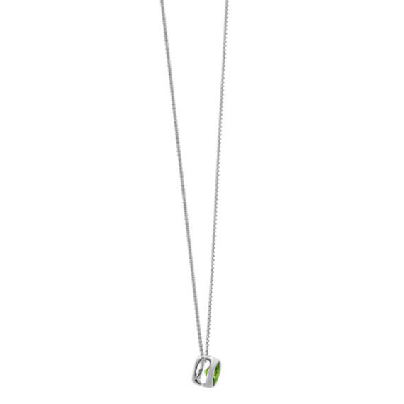 "Bezel-Set Green Sapphire Solitaire Pendant in 14k White Gold (18"")"
