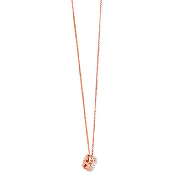 "Bezel-Set Round Diamond Twirl Pendant in 14k Rose Gold (18"")"