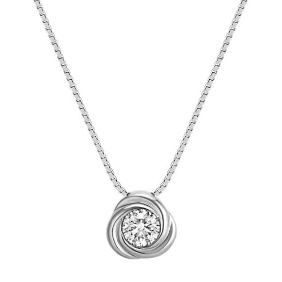 "Bezel-Set Round Diamond Twirl Pendant in 14k White Gold (18"")"