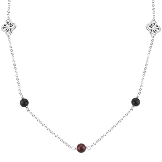 """Black Agate and Garnet Necklace in Sterling Silver (36"""")"""