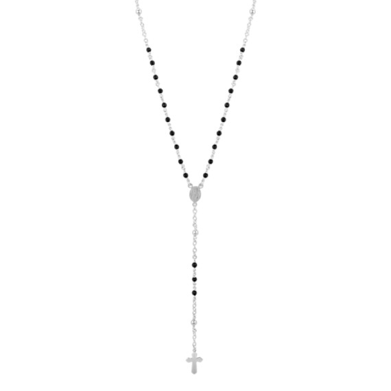 Black Agate and Sterling Silver Cross Necklace (28)
