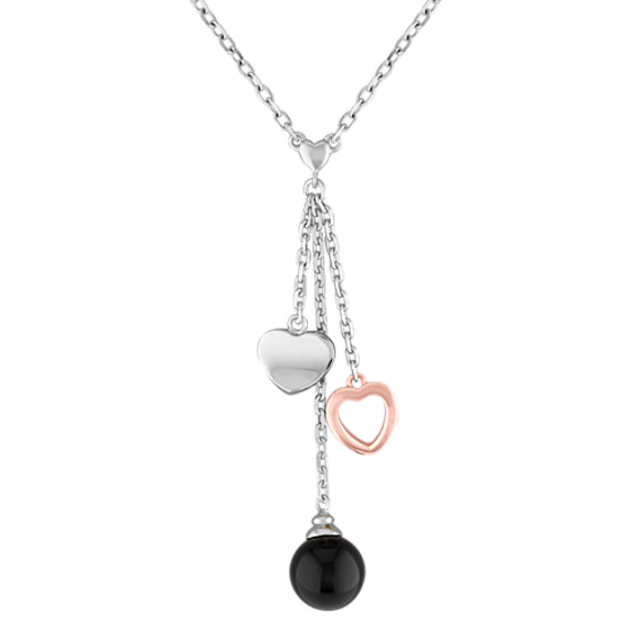 "Black Agate and Sterling Silver Heart Necklace (18"")"