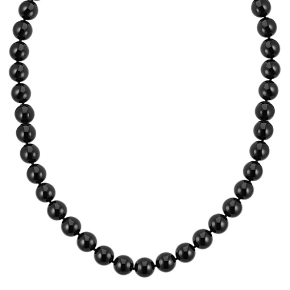 """Black Agate and Sterling Silver Necklace (18"""")"""