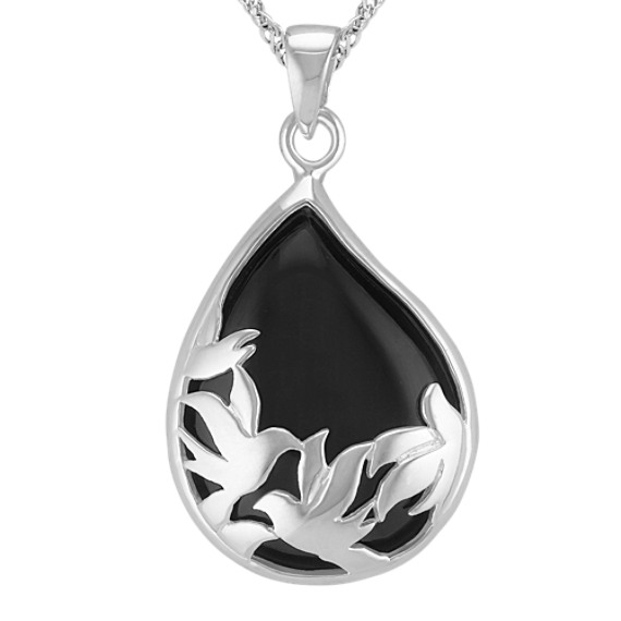 Black Agate and Sterling Silver Tear-Drop Pendant (20)
