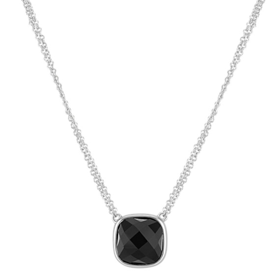 """Black Agate Double Chain Necklace in Sterling Silver (16"""")"""