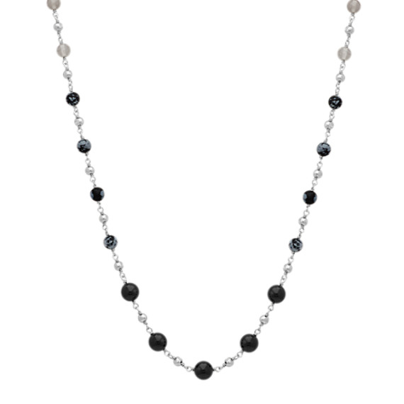 "Black Agate, Grey Agate, and Snow Flake Obsidian Necklace (26"")"