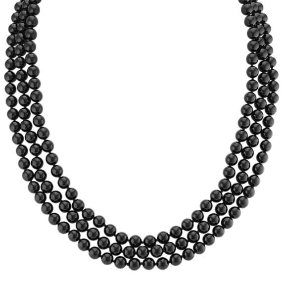 "Black Agate Necklace (65"")"
