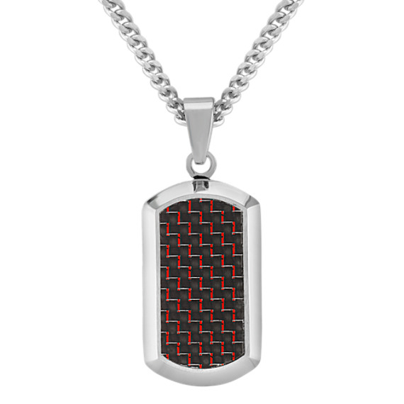 Black and Red Carbon Fiber and Stainless Steel Dog Tag Necklace (24)