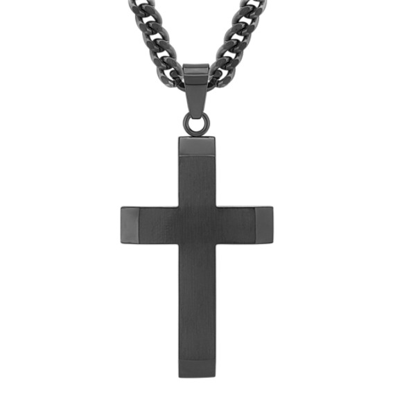 Black Stainless Steel Cross Necklace (24)
