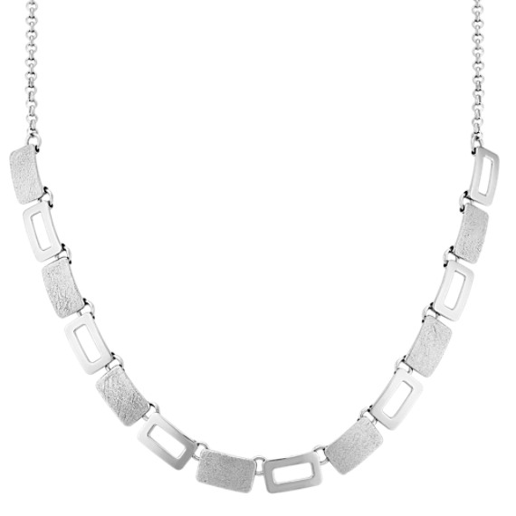 Blocked Sterling Silver Necklace (18 in.)