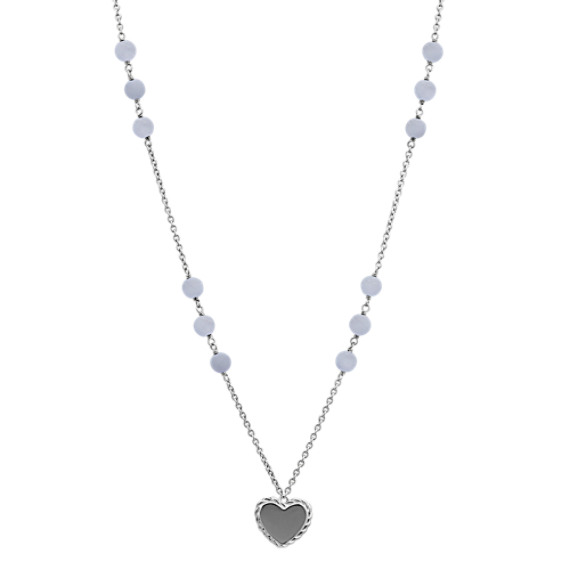 "Blue Lace Agate and Sterling Silver Heart Necklace (28"")"