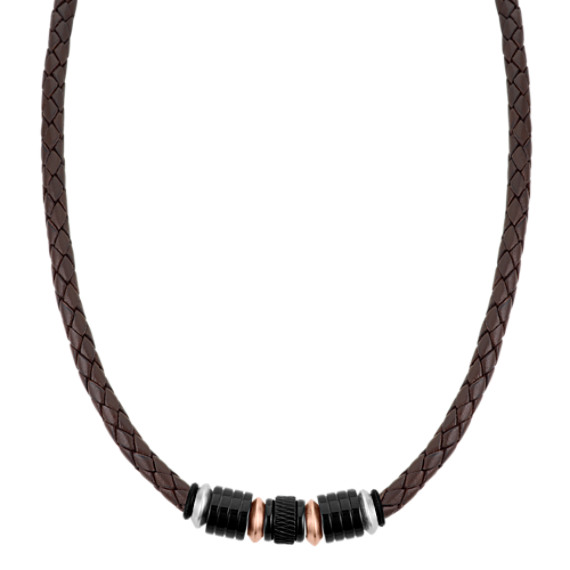 "Braided Leather and Stainless Steel Necklace (19.5"")"