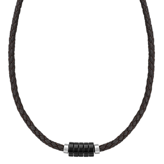 "Braided Leather, Black Agate and Sterling Silver Necklace (20"")"