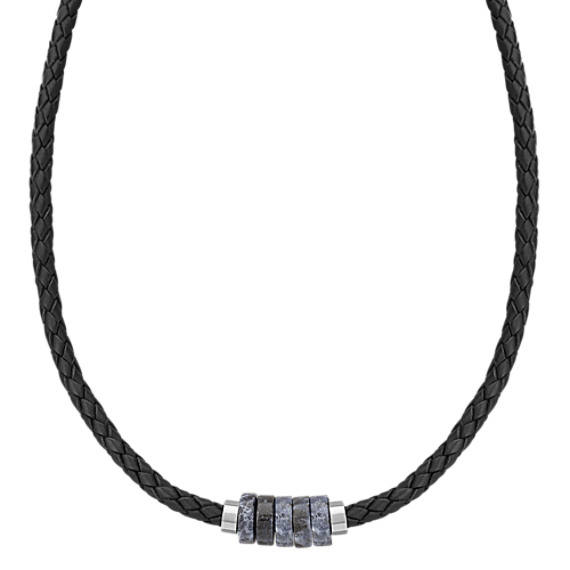Braided Leather, Sodalite and Sterling Silver Necklace (20)