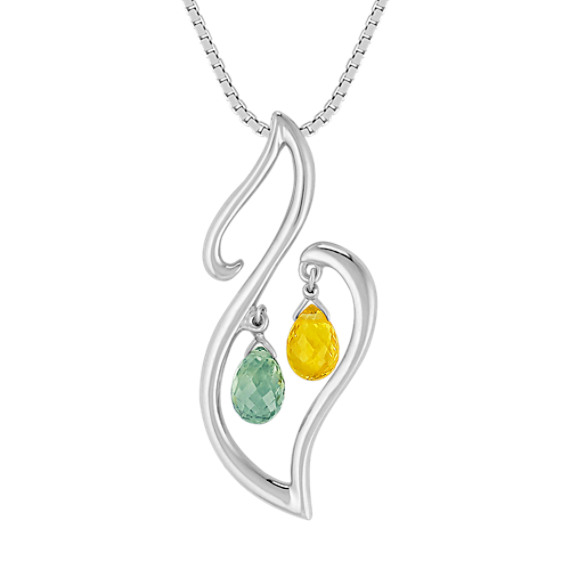 "Briolette Green and Yellow Sapphire Pendant in Sterling Silver (18"")"