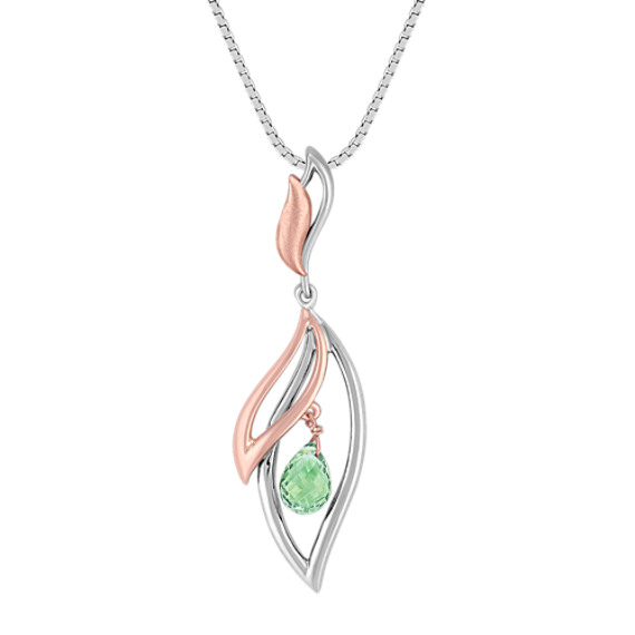Briolette Green Sapphire with Sterling Silver and 14k Rose Gold Pendant (18)