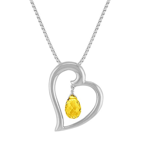 "Briolette Yellow Sapphire Heart Pendant (18"")"