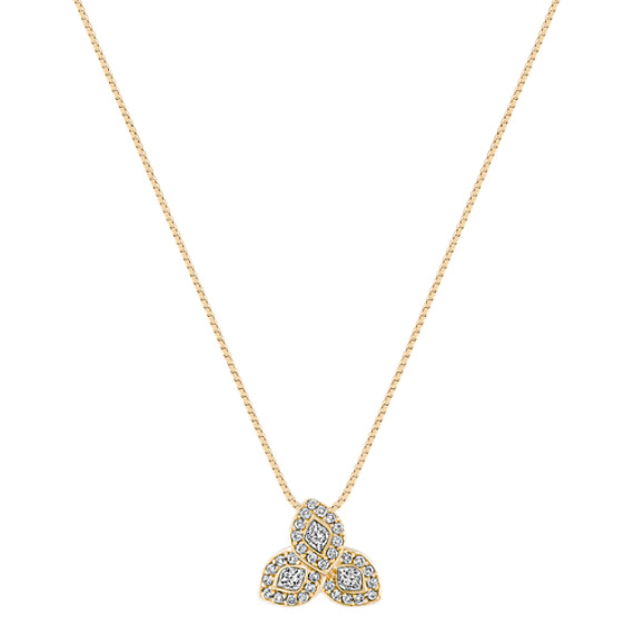 "Calla Cut and Round Diamond Pendant (18"")"