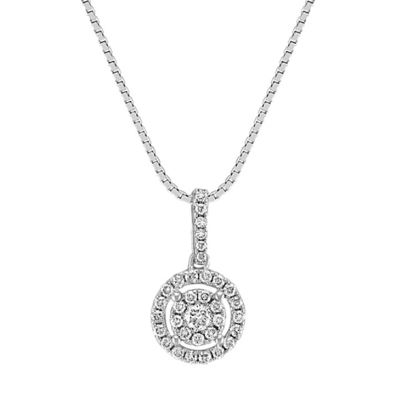 "Circle Diamond Cluster Pendant (18"")"