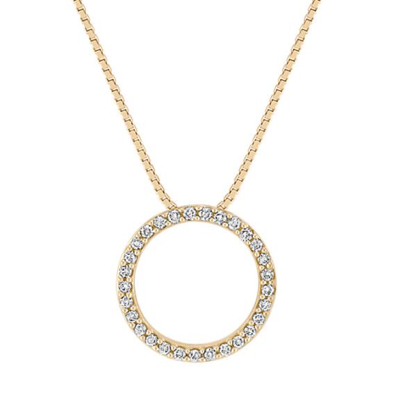 "Classic Diamond Circle Pendant in 14k Yellow Gold (18"")"