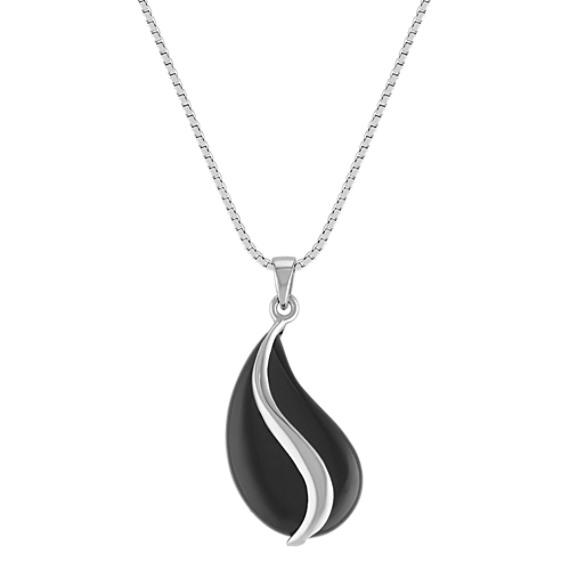 Contemporary Black Agate and Sterling Silver Pendant (18)