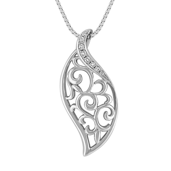 Contemporary Diamond Pendant in Sterling Silver (18)