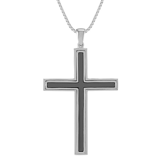 Cross Necklace in Sterling Silver with Black Ruthenium (20)