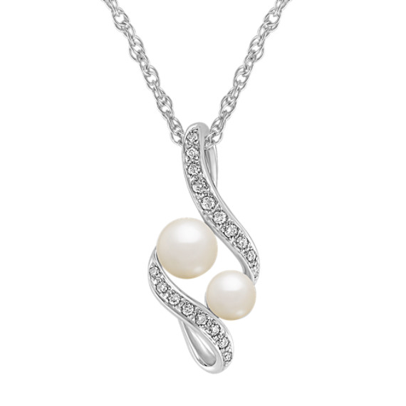 "Cultured Freshwater Pearl and Diamond Pendant in Sterling Silver (18"")"