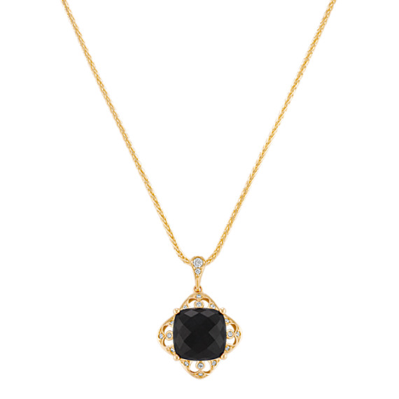 Cushion Cut Black Sapphire and Round Diamond Pendant (18)