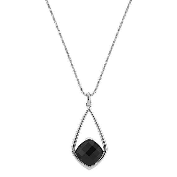 """Cushion Cut Black Sapphire Pendant (18"""")"""