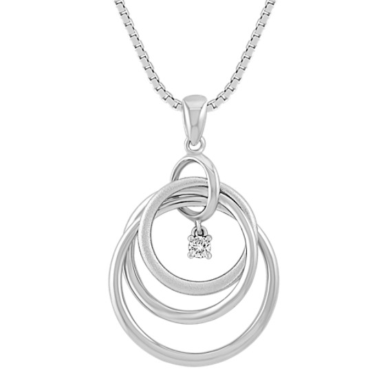 "Diamond and Sterling Silver Circle Pendant (18"")"