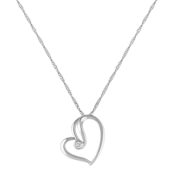 Diamond and Sterling Silver Heart Pendant (18)