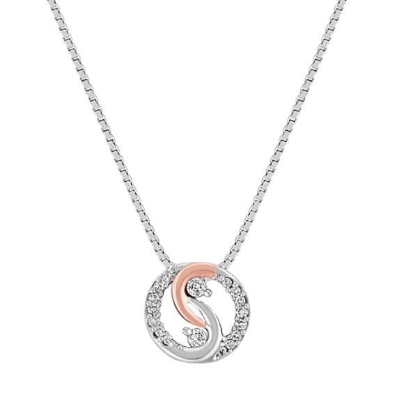 "Diamond Circle Pendant in Sterling Silver and Rose Gold (18"")"
