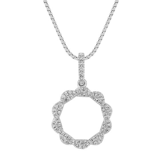Diamond Circle Pendant with Pavé Setting