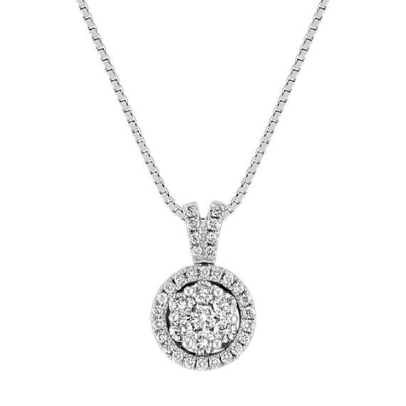 "Diamond Cluster Circle Pendant (18"")"
