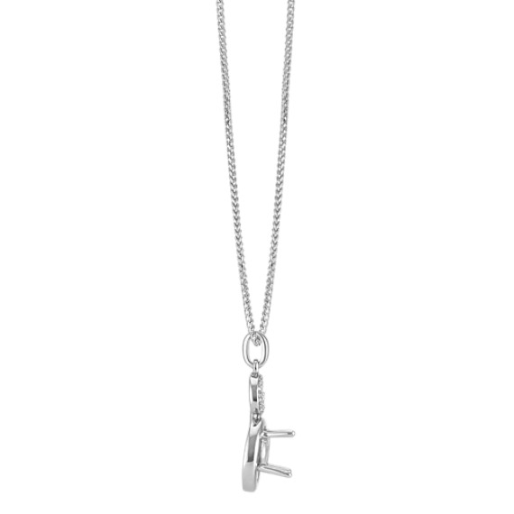 "Diamond Curl Pendant for Round Gemstone (22"")"